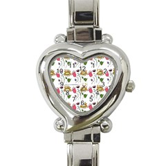 Handmade Pattern With Crazy Flowers Heart Italian Charm Watch by Simbadda