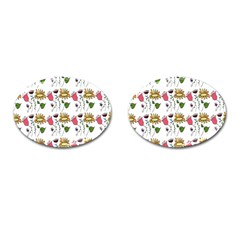 Handmade Pattern With Crazy Flowers Cufflinks (oval) by Simbadda