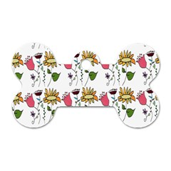 Handmade Pattern With Crazy Flowers Dog Tag Bone (two Sides) by Simbadda