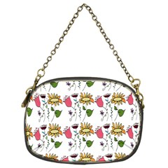 Handmade Pattern With Crazy Flowers Chain Purses (two Sides)  by Simbadda