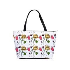 Handmade Pattern With Crazy Flowers Shoulder Handbags by Simbadda