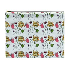 Handmade Pattern With Crazy Flowers Cosmetic Bag (xl) by Simbadda