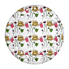 Handmade Pattern With Crazy Flowers Round Filigree Ornament (two Sides) by Simbadda