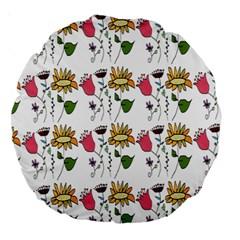 Handmade Pattern With Crazy Flowers Large 18  Premium Round Cushions by Simbadda