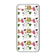 Handmade Pattern With Crazy Flowers Apple Iphone 5c Seamless Case (white) by Simbadda
