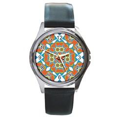 Digital Computer Graphic Geometric Kaleidoscope Round Metal Watch by Simbadda
