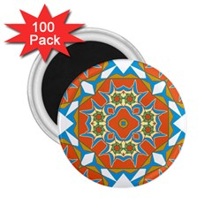 Digital Computer Graphic Geometric Kaleidoscope 2 25  Magnets (100 Pack)  by Simbadda