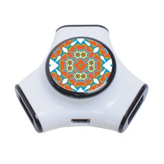 Digital Computer Graphic Geometric Kaleidoscope 3 Port Usb Hub by Simbadda