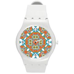 Digital Computer Graphic Geometric Kaleidoscope Round Plastic Sport Watch (m) by Simbadda
