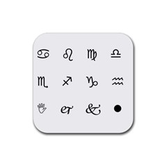 Set Of Black Web Dings On White Background Abstract Symbols Rubber Coaster (square)  by Amaryn4rt