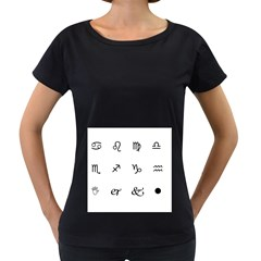 Set Of Black Web Dings On White Background Abstract Symbols Women s Loose Fit T Shirt (black) by Amaryn4rt