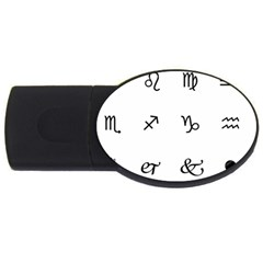 Set Of Black Web Dings On White Background Abstract Symbols Usb Flash Drive Oval (4 Gb) by Amaryn4rt