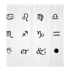 Set Of Black Web Dings On White Background Abstract Symbols Shower Curtain 66  X 72  (large)  by Amaryn4rt