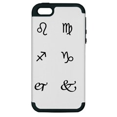 Set Of Black Web Dings On White Background Abstract Symbols Apple Iphone 5 Hardshell Case (pc+silicone) by Amaryn4rt