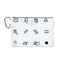 Set Of Black Web Dings On White Background Abstract Symbols Canvas Cosmetic Bag (m) by Amaryn4rt