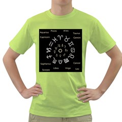 Astrology Chart With Signs And Symbols From The Zodiac Gold Colors Green T Shirt by Amaryn4rt