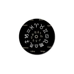 Astrology Chart With Signs And Symbols From The Zodiac Gold Colors Golf Ball Marker by Amaryn4rt