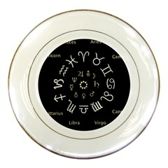 Astrology Chart With Signs And Symbols From The Zodiac Gold Colors Porcelain Plates by Amaryn4rt