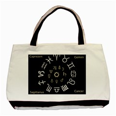 Astrology Chart With Signs And Symbols From The Zodiac Gold Colors Basic Tote Bag (two Sides) by Amaryn4rt