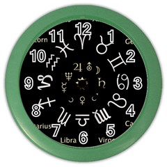 Astrology Chart With Signs And Symbols From The Zodiac Gold Colors Color Wall Clocks by Amaryn4rt