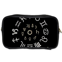 Astrology Chart With Signs And Symbols From The Zodiac Gold Colors Toiletries Bags by Amaryn4rt