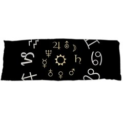 Astrology Chart With Signs And Symbols From The Zodiac Gold Colors Body Pillow Case Dakimakura (two Sides) by Amaryn4rt