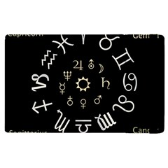 Astrology Chart With Signs And Symbols From The Zodiac Gold Colors Apple Ipad 3/4 Flip Case by Amaryn4rt