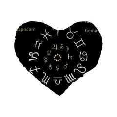 Astrology Chart With Signs And Symbols From The Zodiac Gold Colors Standard 16  Premium Flano Heart Shape Cushions by Amaryn4rt