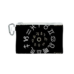 Astrology Chart With Signs And Symbols From The Zodiac Gold Colors Canvas Cosmetic Bag (s) by Amaryn4rt