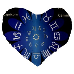 Astrology Birth Signs Chart Large 19  Premium Heart Shape Cushions by Amaryn4rt