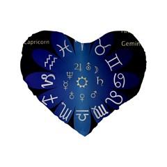Astrology Birth Signs Chart Standard 16  Premium Flano Heart Shape Cushions by Amaryn4rt