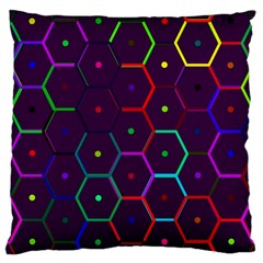 Color Bee Hive Pattern Large Cushion Case (one Side) by Amaryn4rt