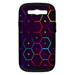 Color Bee Hive Pattern Samsung Galaxy S Iii Hardshell Case (pc+silicone) by Amaryn4rt
