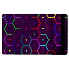 Color Bee Hive Pattern Apple Ipad 2 Flip Case by Amaryn4rt