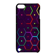 Color Bee Hive Pattern Apple Ipod Touch 5 Hardshell Case With Stand by Amaryn4rt