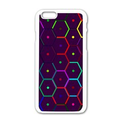 Color Bee Hive Pattern Apple Iphone 6/6s White Enamel Case by Amaryn4rt