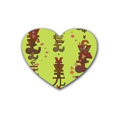 Set Of Monetary Symbols Heart Coaster (4 Pack)  by Amaryn4rt