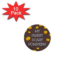 Scary Sweet Funny Cute Pumpkins Hallowen Ecard 1  Mini Buttons (10 Pack)  by Amaryn4rt