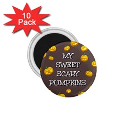 Scary Sweet Funny Cute Pumpkins Hallowen Ecard 1 75  Magnets (10 Pack)  by Amaryn4rt