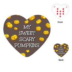 Scary Sweet Funny Cute Pumpkins Hallowen Ecard Playing Cards (heart)  by Amaryn4rt