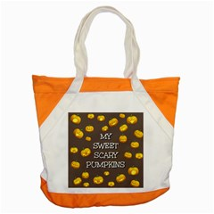 Scary Sweet Funny Cute Pumpkins Hallowen Ecard Accent Tote Bag by Amaryn4rt
