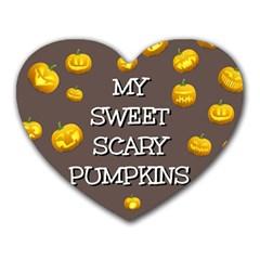 Scary Sweet Funny Cute Pumpkins Hallowen Ecard Heart Mousepads by Amaryn4rt