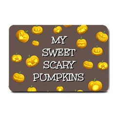 Scary Sweet Funny Cute Pumpkins Hallowen Ecard Small Doormat  by Amaryn4rt
