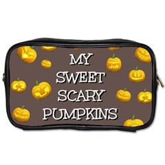 Scary Sweet Funny Cute Pumpkins Hallowen Ecard Toiletries Bags by Amaryn4rt