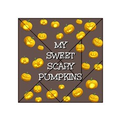 Scary Sweet Funny Cute Pumpkins Hallowen Ecard Acrylic Tangram Puzzle (4  X 4 ) by Amaryn4rt