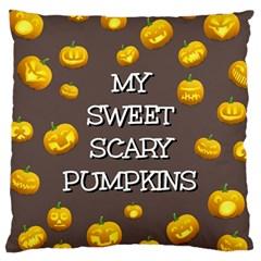 Scary Sweet Funny Cute Pumpkins Hallowen Ecard Large Cushion Case (one Side) by Amaryn4rt