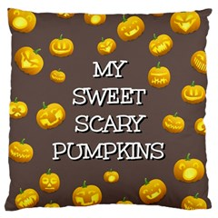 Scary Sweet Funny Cute Pumpkins Hallowen Ecard Large Cushion Case (two Sides) by Amaryn4rt