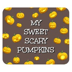 Scary Sweet Funny Cute Pumpkins Hallowen Ecard Double Sided Flano Blanket (small)  by Amaryn4rt
