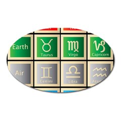 Set Of The Twelve Signs Of The Zodiac Astrology Birth Symbols Oval Magnet by Amaryn4rt