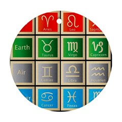 Set Of The Twelve Signs Of The Zodiac Astrology Birth Symbols Round Ornament (two Sides) by Amaryn4rt